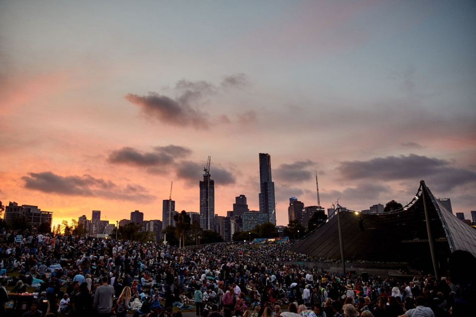 Sidney Myer Music Bowl Crowd Shot At Sunset